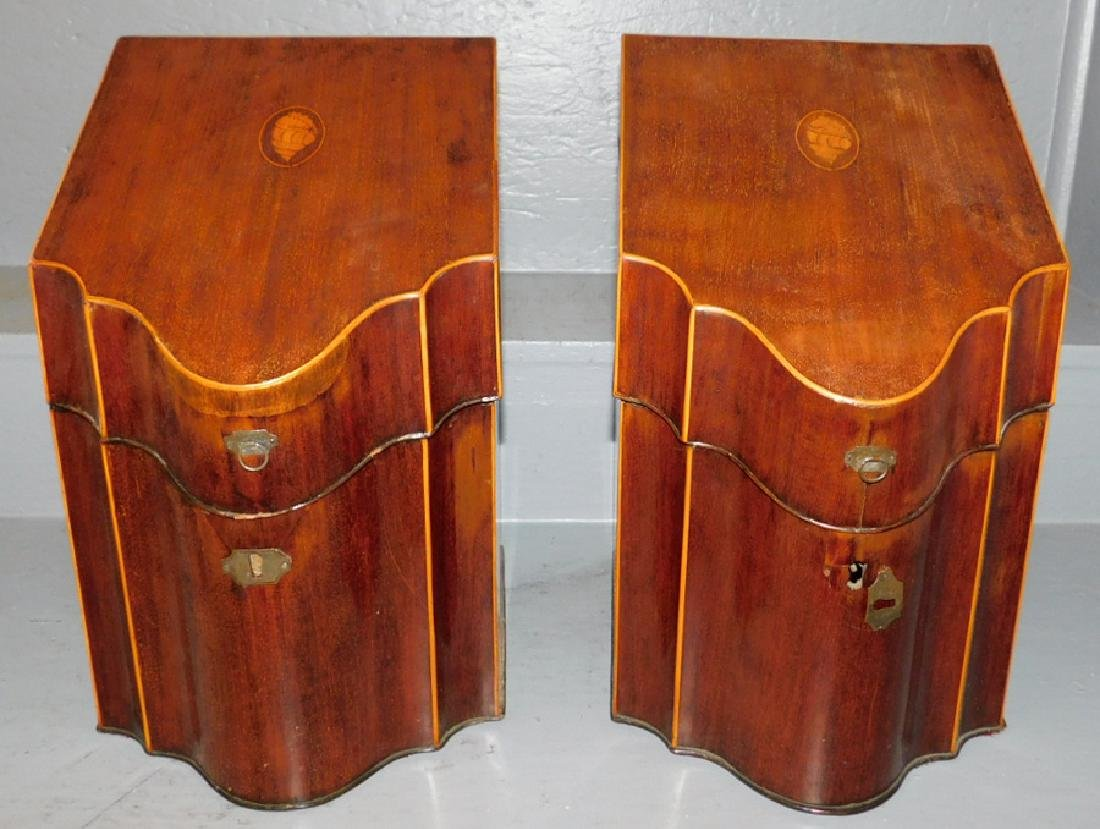 Pair of shell inlaid Hepplewhite knife boxes.
