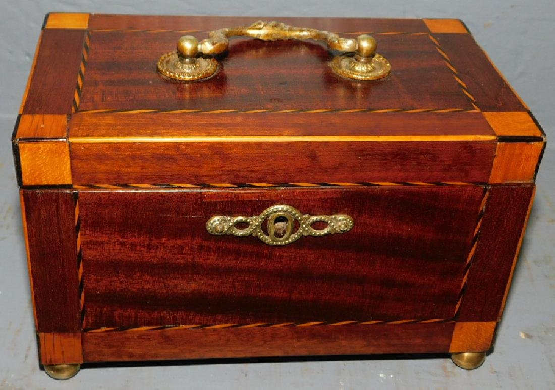 19th C Inlaid ribbon & block fitted tea caddy.