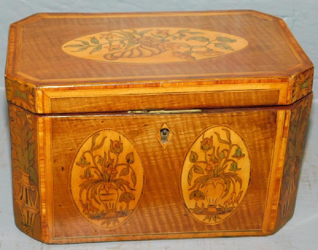 19th C Vine and urn inlaid fitted tea caddy.