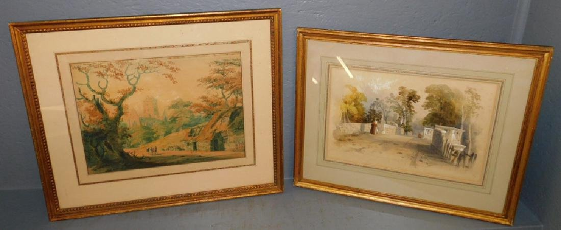2 19th C British school framed watercolors.
