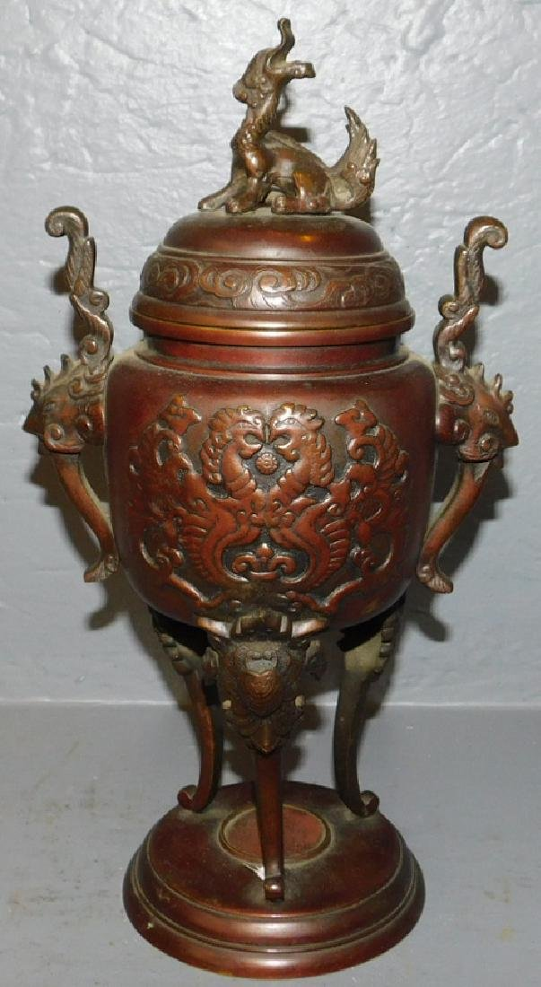Chinese Bronze covered urn.