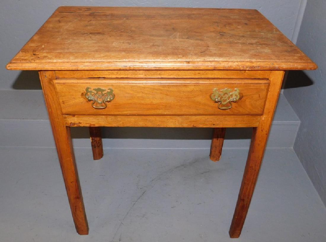 18th C walnut single drawer work table.