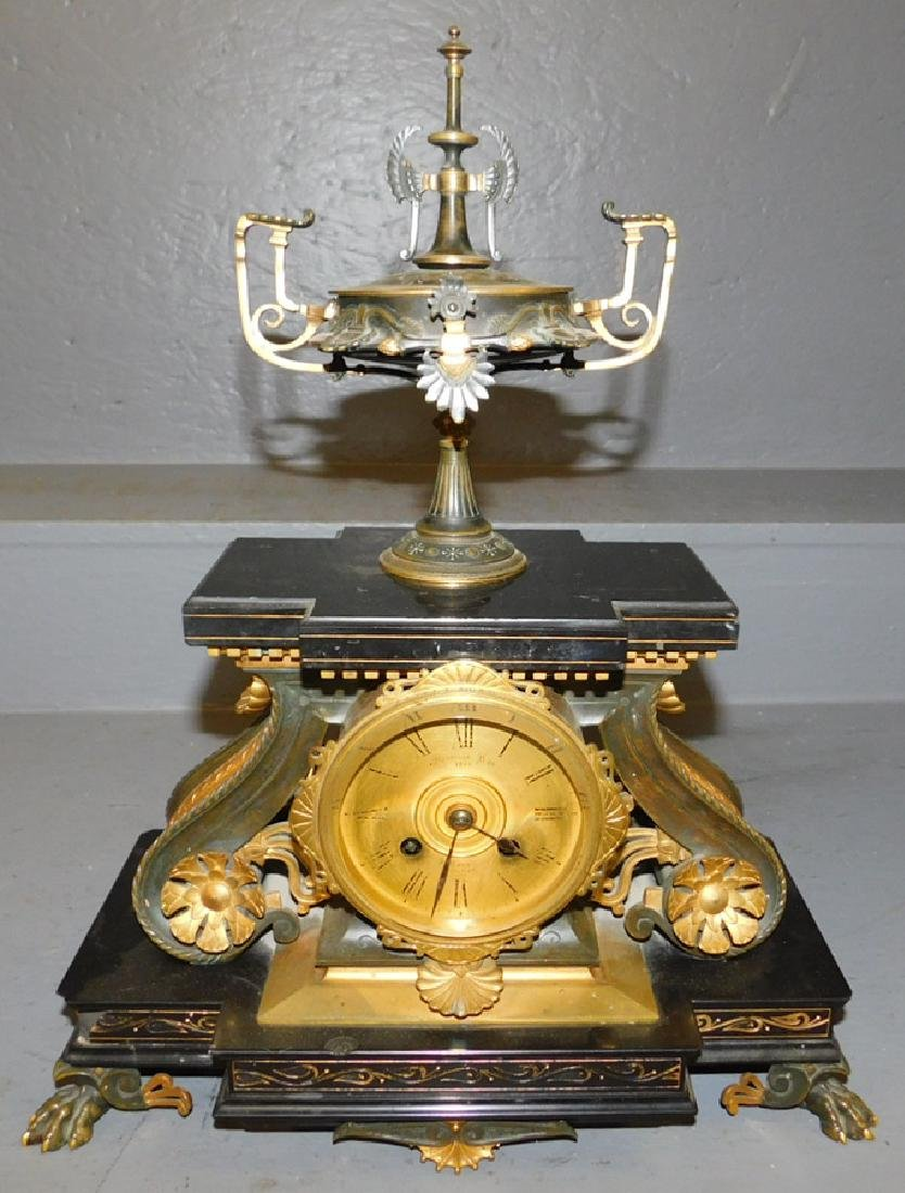 French bronze and marble clock.