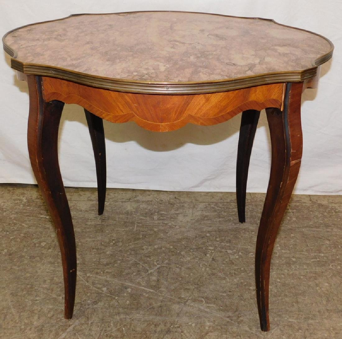 Marble top French octagon shape tea table.