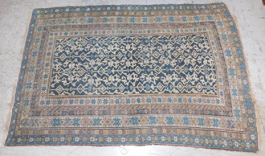 "4' x 5'7"" Antique 19th C handmade rug."