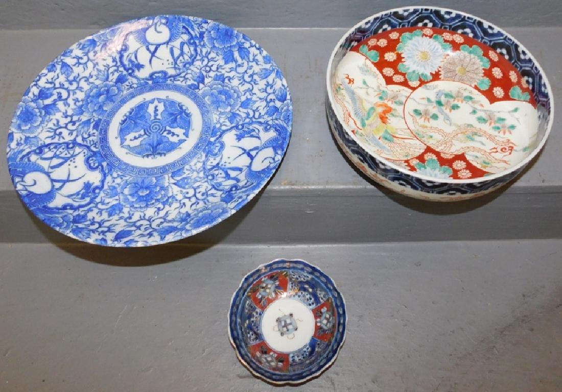 19th C Imari bowl,odd bowl, b&w Imari platter.