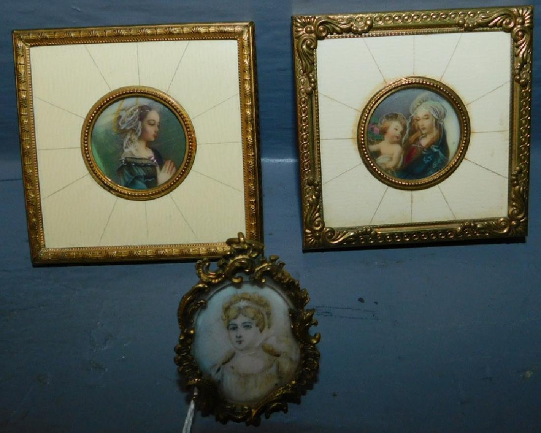 3 miniature hand painted French portraits.