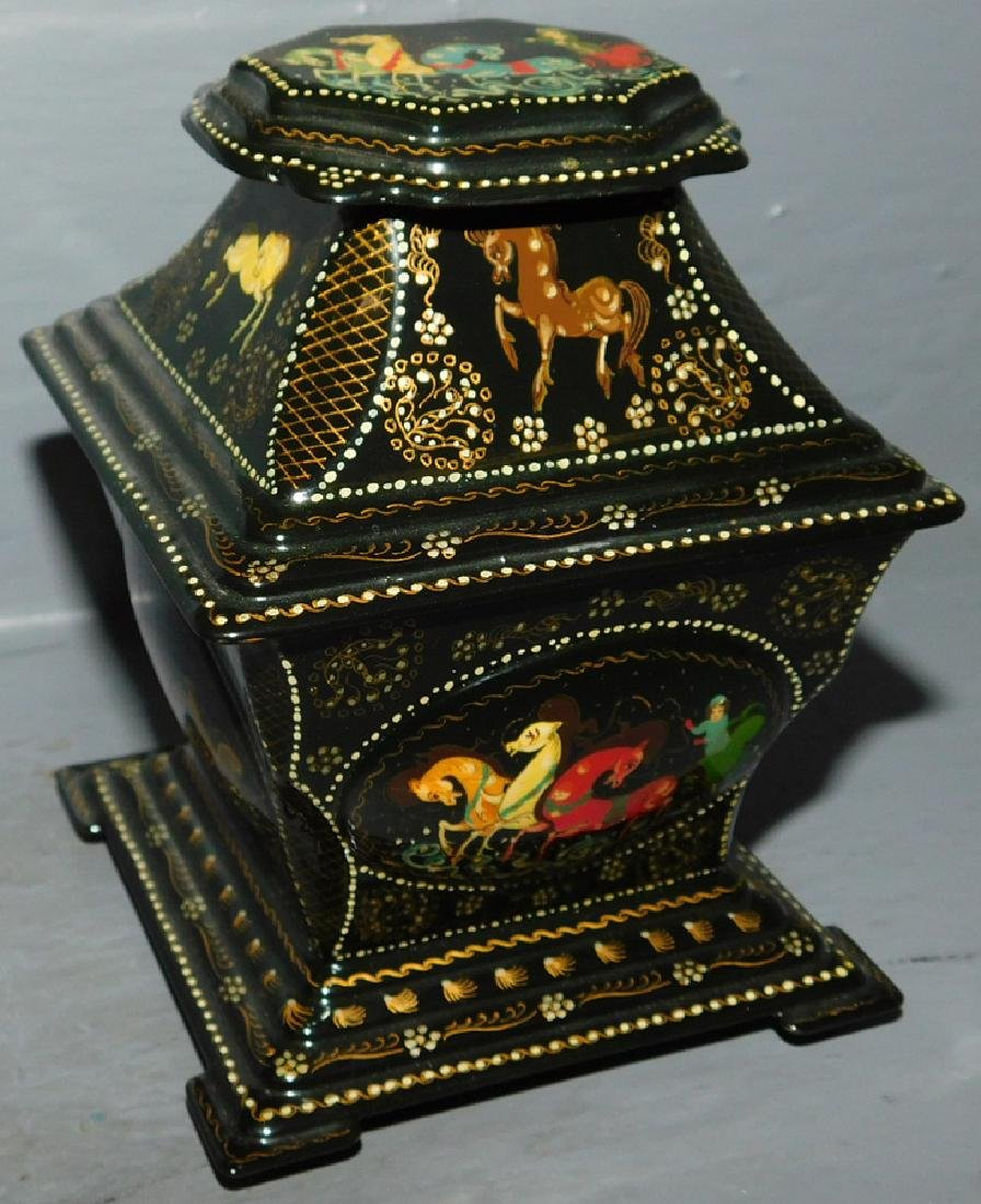 Hand painted Russian box with 2 compartments