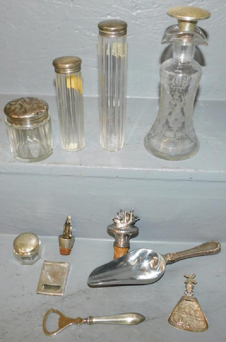 Misc. sterling dresser bottles & unmarked stopper