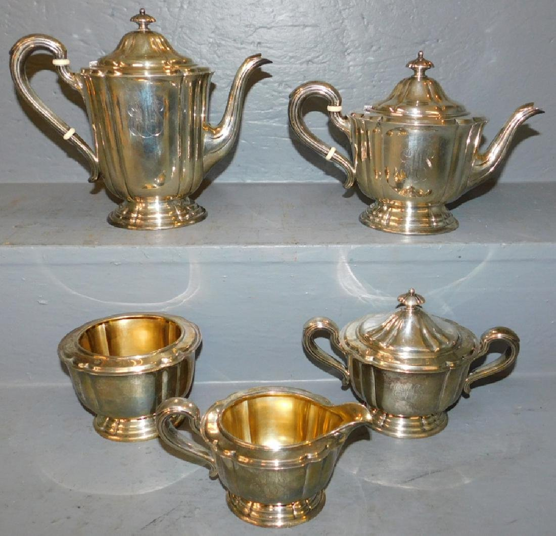 5 pc. Monogrammed Gorham sterling tea set.