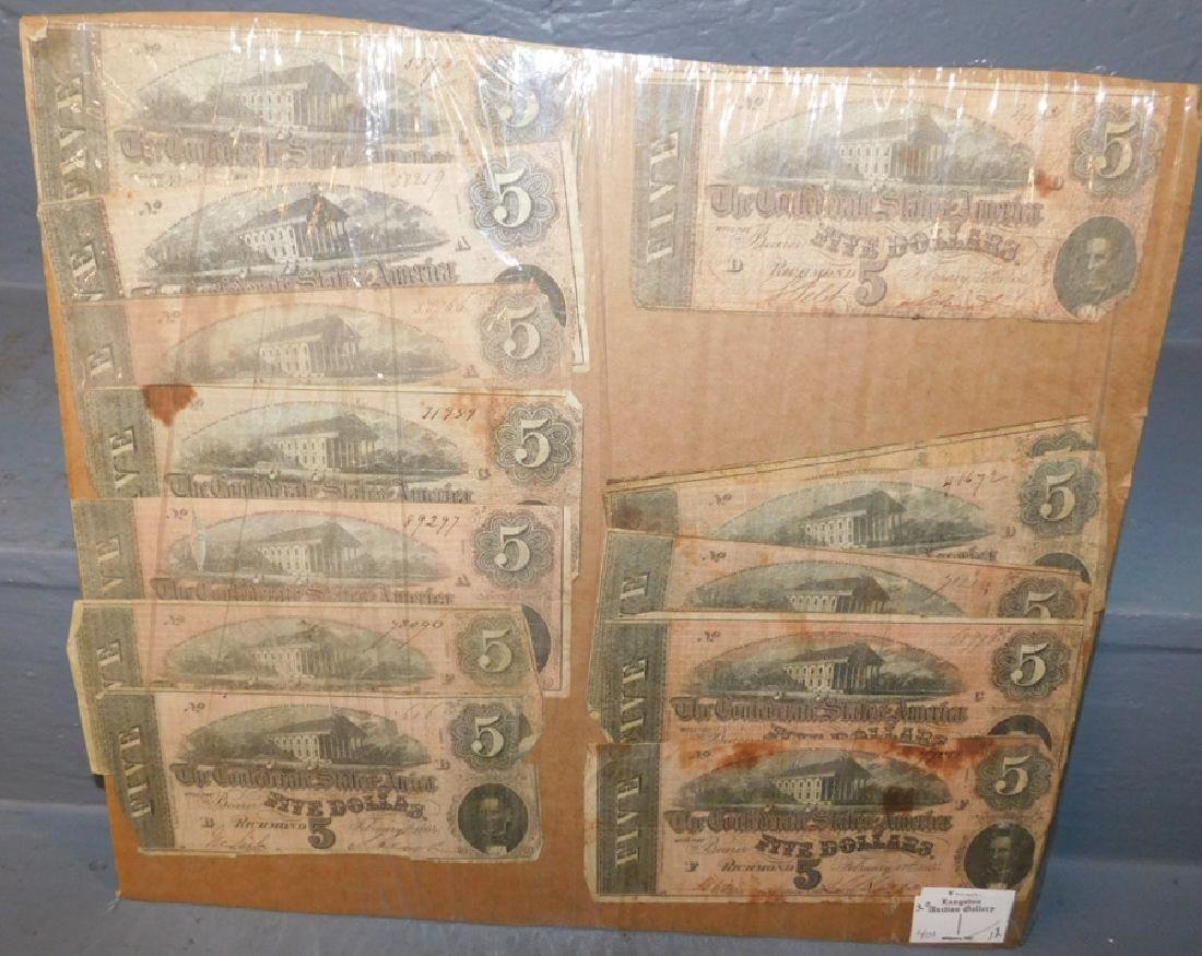 Collection of 12 Confederate $5 notes