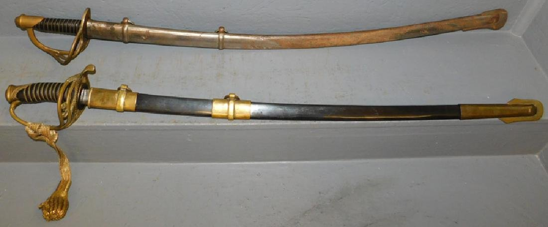 2 Civil War reenactment swords, one marked CS.
