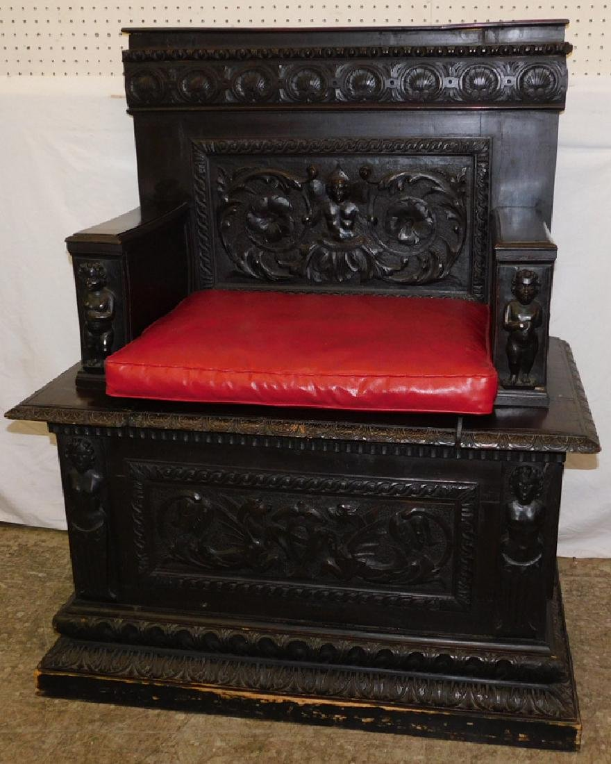Small antique carved bench