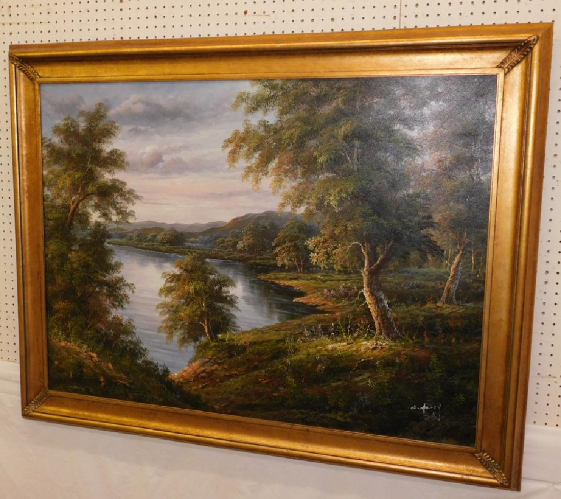 Large OOC of lake and mountain scene, signed.