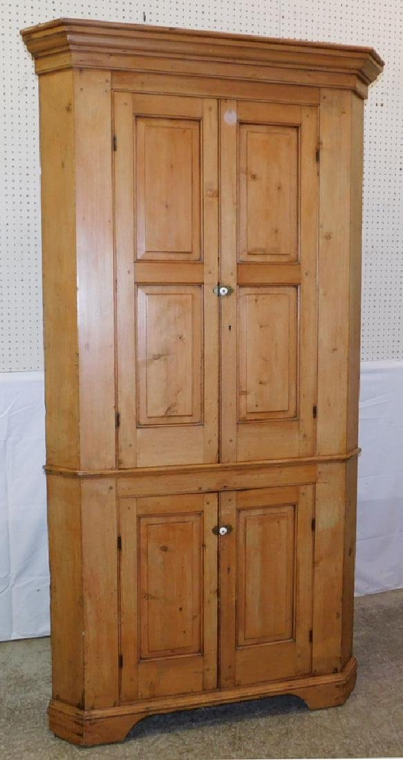 19th C pickle pine corner cupboard.