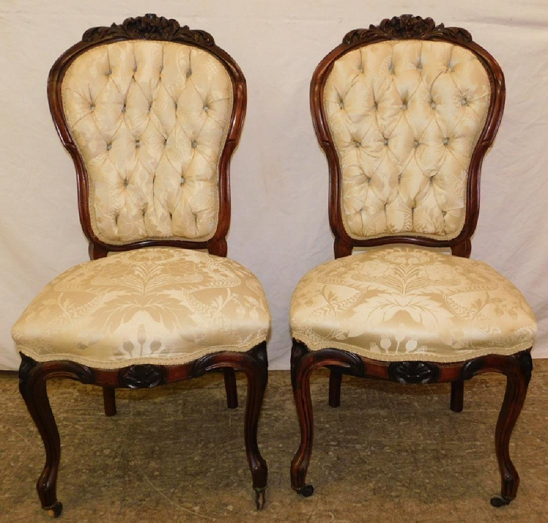 Carved back tufted Victorian rosewood side chairs