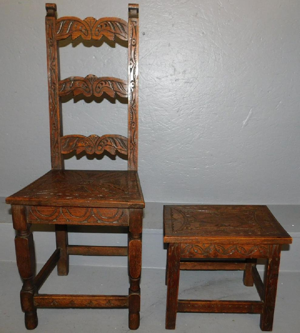 Carved English oak stool and child's chair.