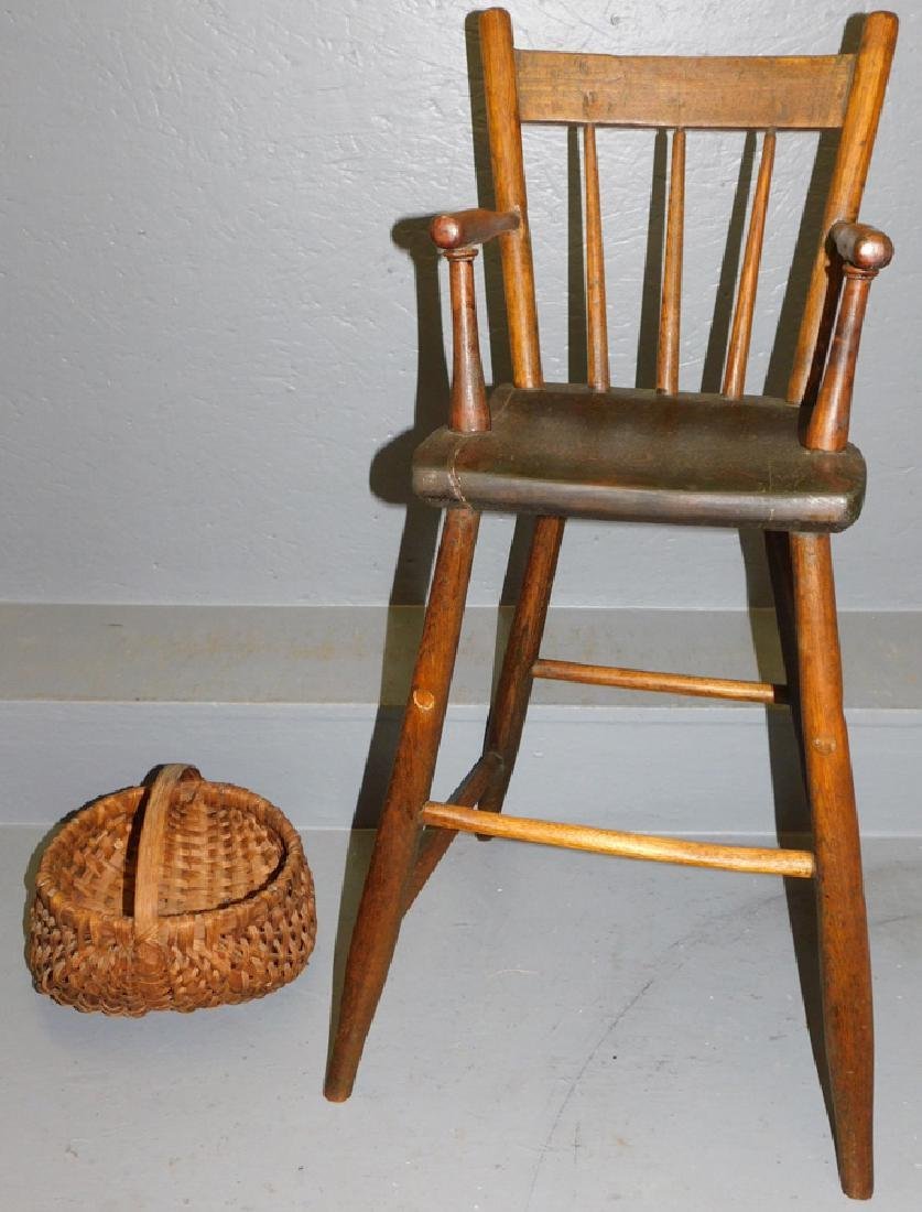 Primitive high chair and split oak basket.