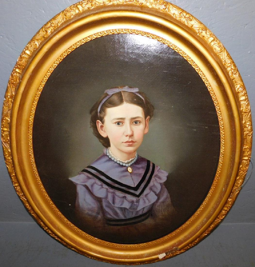 19th C OOC portrait of young lady, relined.