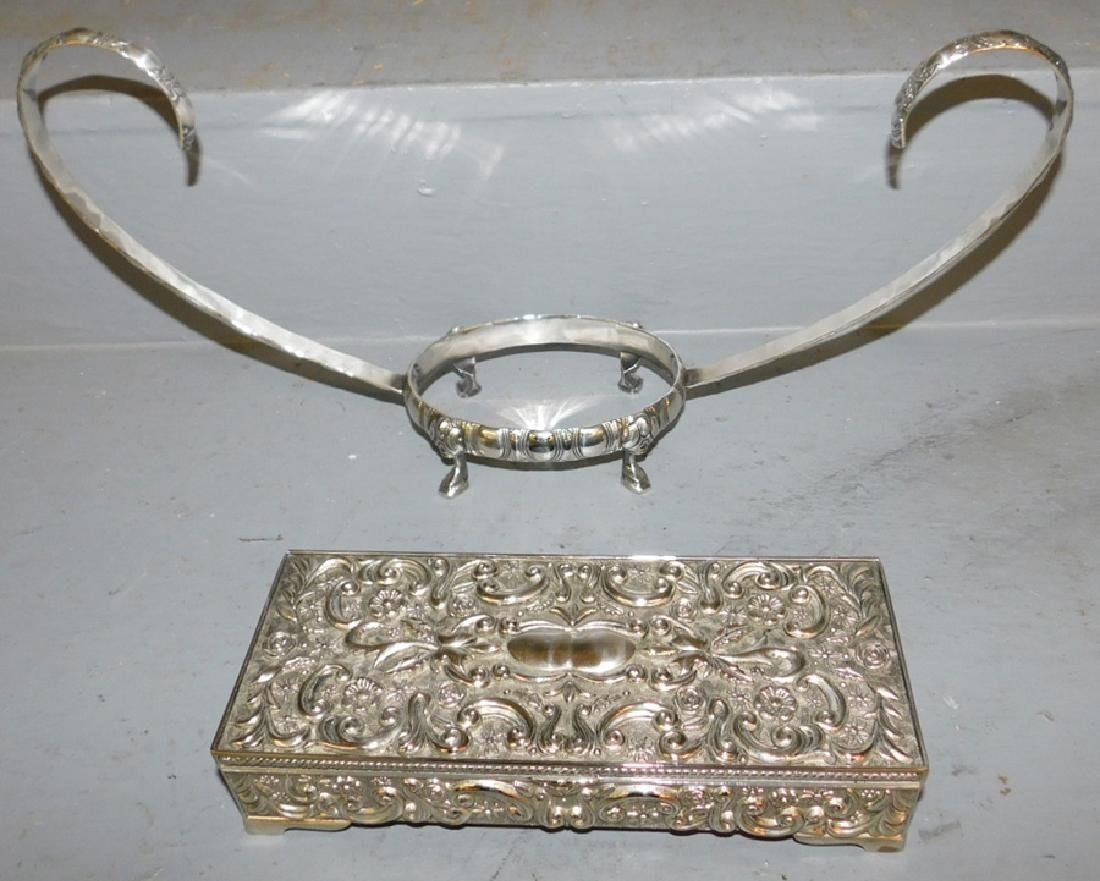 Silver plate bowl stand and jewelry box.
