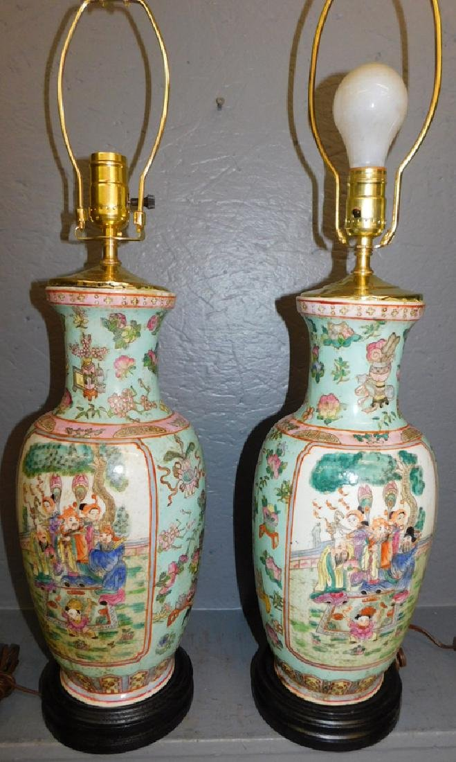 Pair of Oriental hand painted lamps.