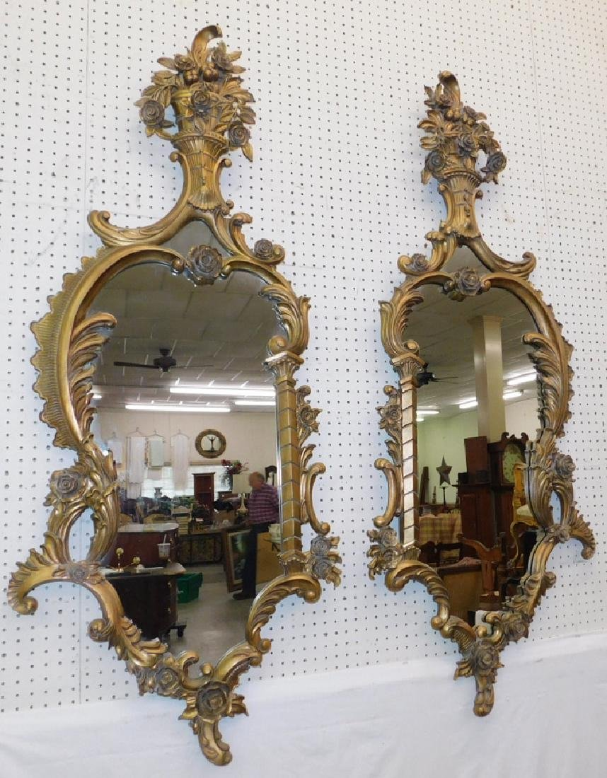 Pair of gold leaf French style Labarge mirrors.