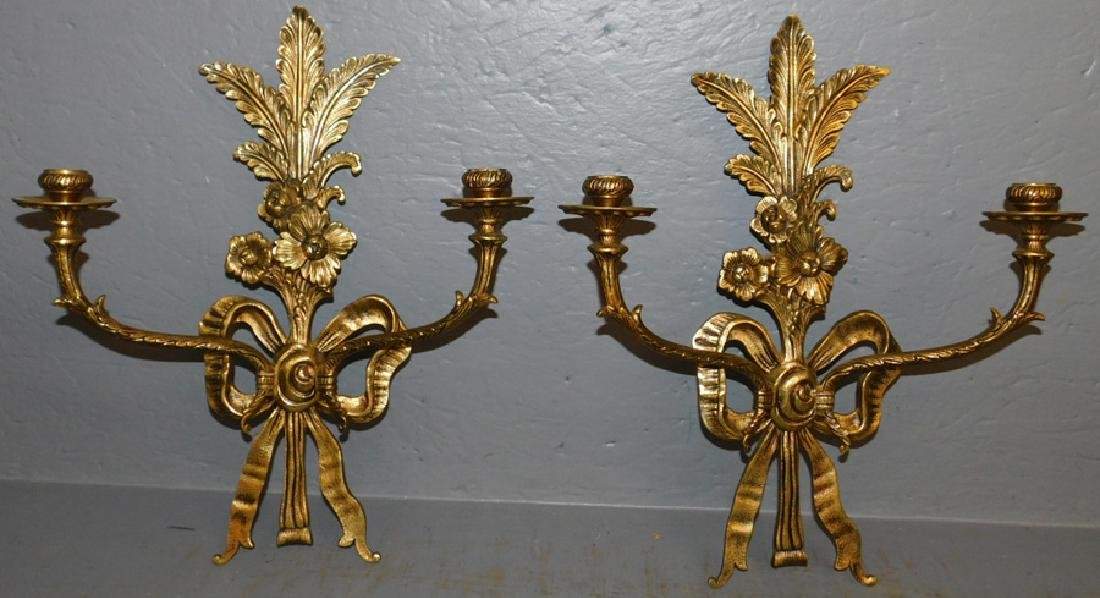 Pair of gilt bronze wall sconces.