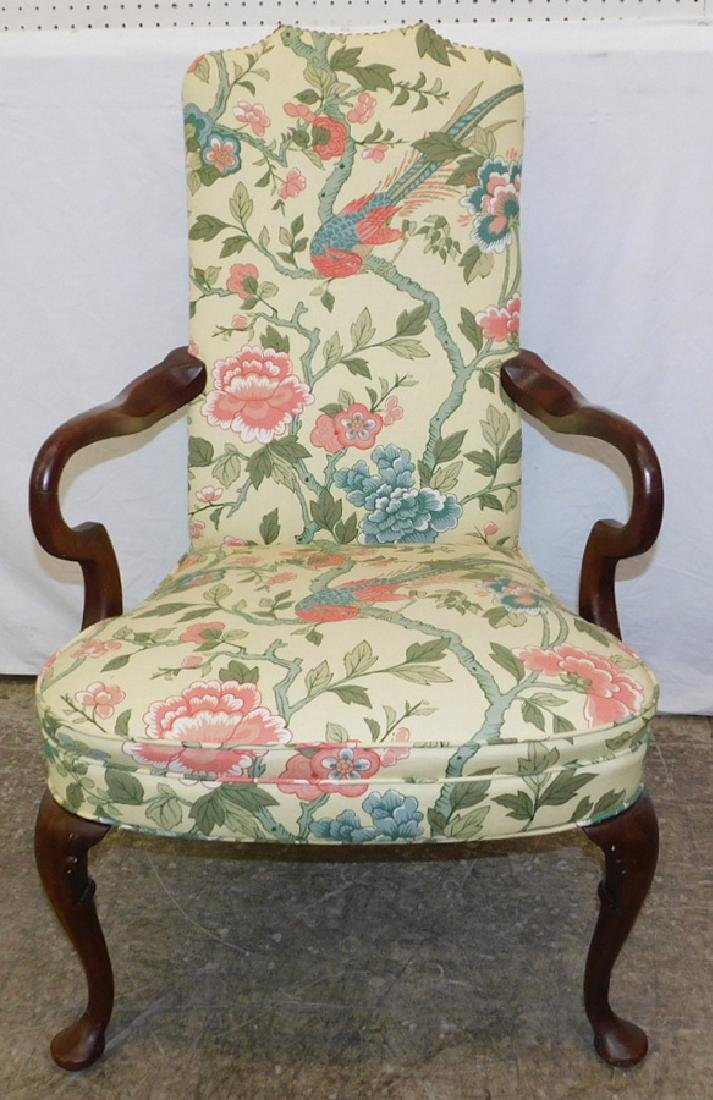 Estate Queen Anne mahog. upholstered armchair