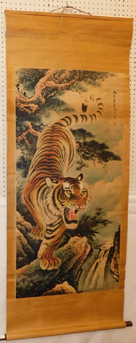 Chinese hand painted scroll with tiger.