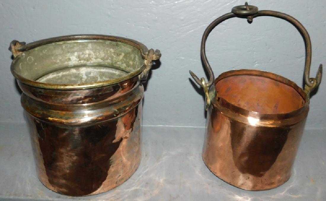 2 polished copper antique pots w/dovetail bottoms