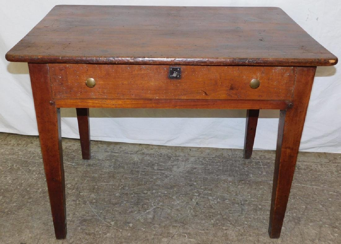 19th C yellow pine work table.