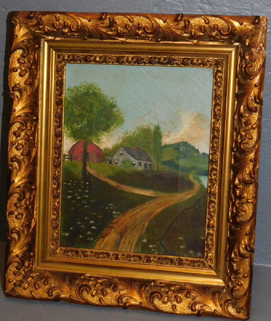 Small 19th century OOC of a spring country scene