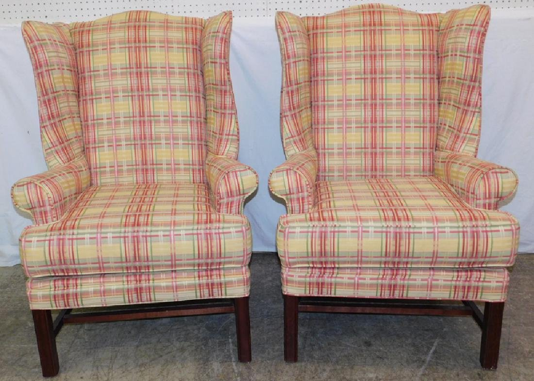 Pr. Edgecombe Chippendale wing back chairs.