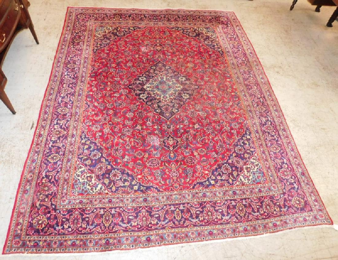 Antique Persian Kashan rug.