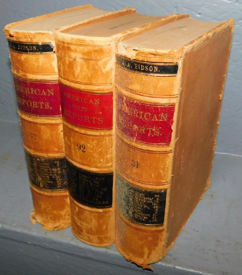 """3 Leather bound vol. """"American State Reports""""."""