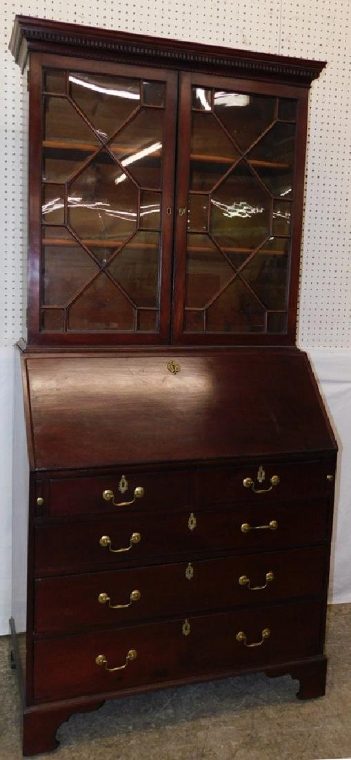18th C mahogany fall front Chippendale style desk