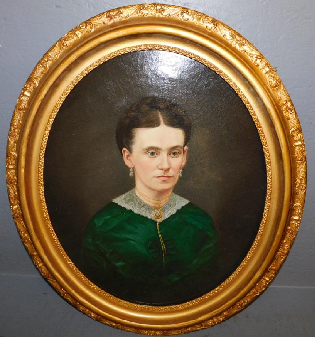 19th C portrait Oil painting of lady, relined.