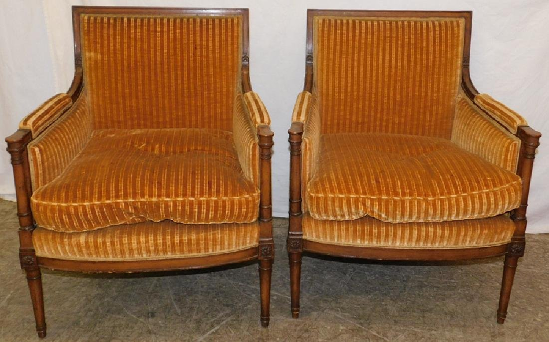 Pair of French style bergeres with down cushions.