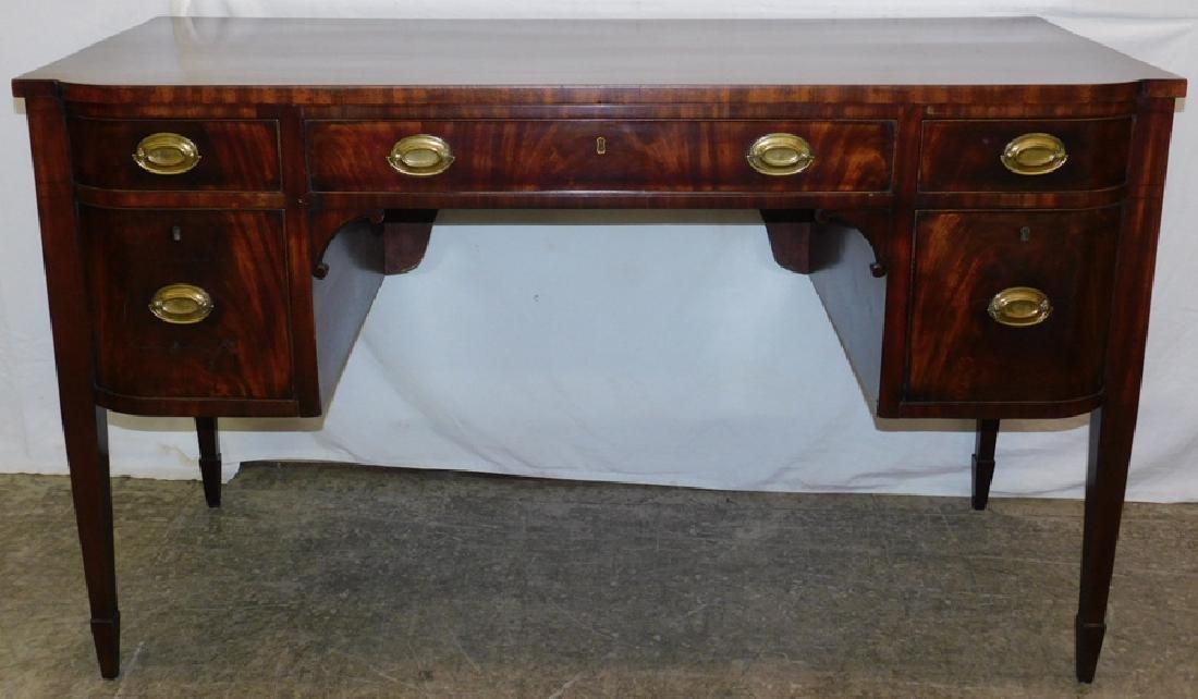 Hepplewhite mahog. bow front sideboard cc 1800.