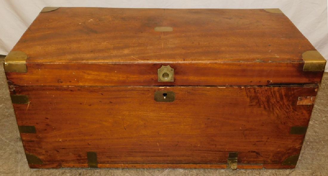 Brass bound mahogany blanket chest.