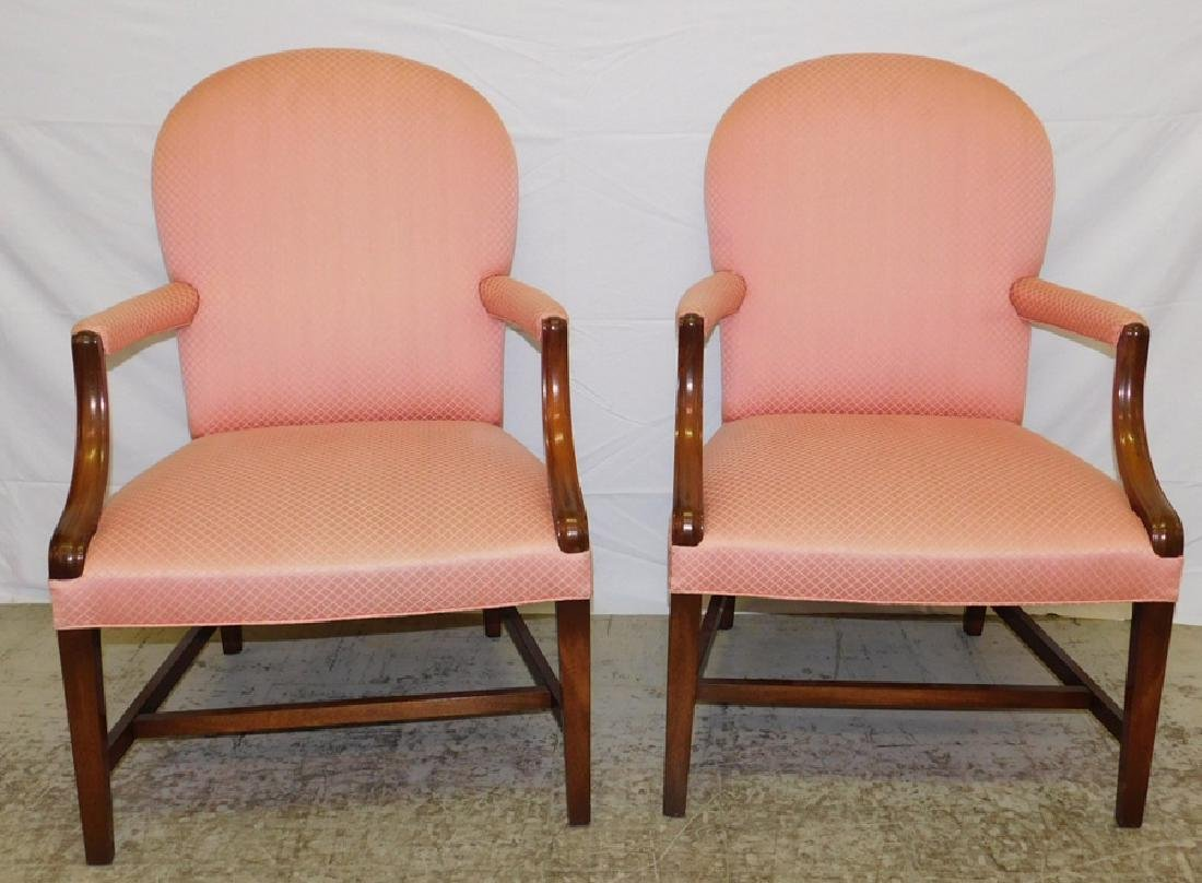 Pair of mahogany Georgian style arm chairs.