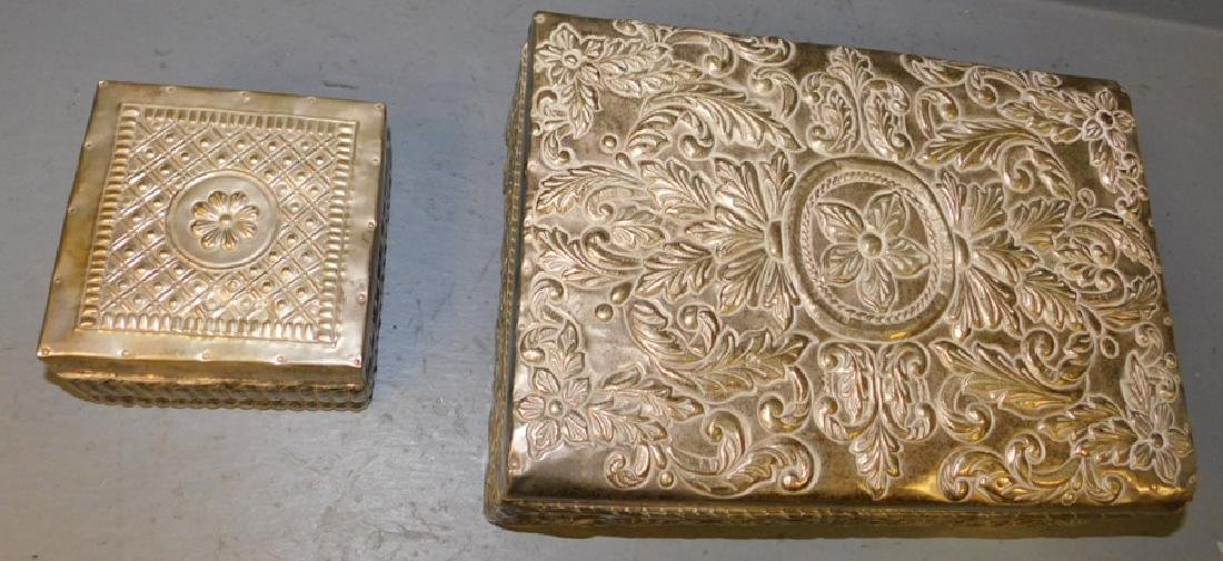 Two Silver on brass boxes.