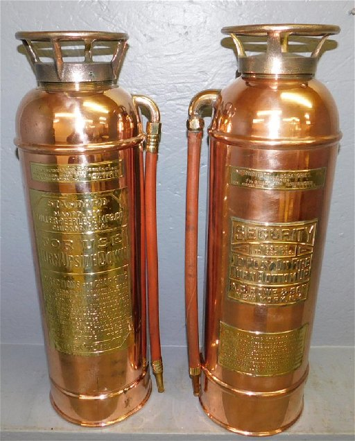 2 Polished Copper Fire Extinguishers