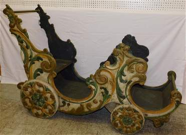Carved orig. paint carousel chariot