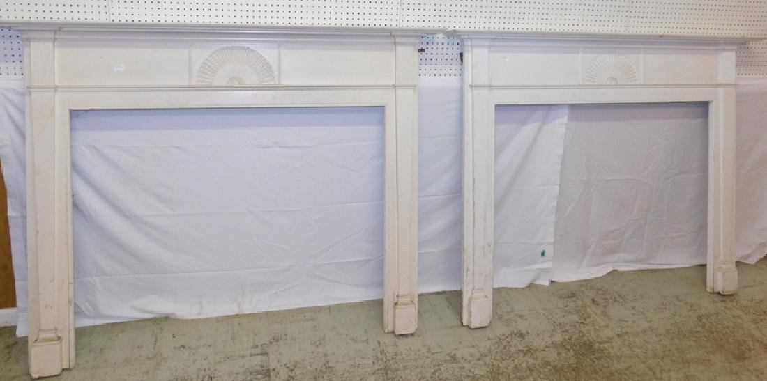 Matching pair of painted mantles.