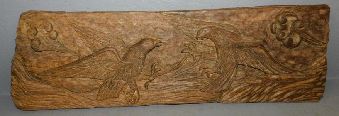 Carved eagle hanging wood plaque.