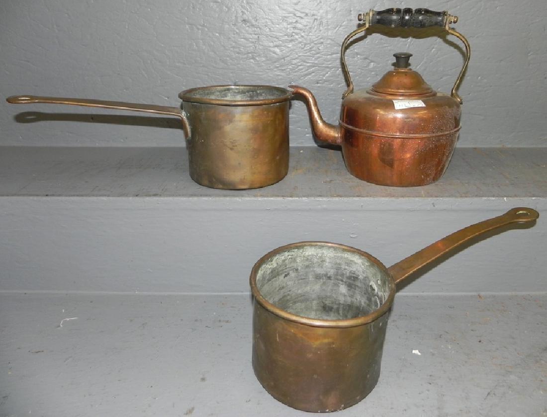 Copper tea kettle and 2 copper pots.
