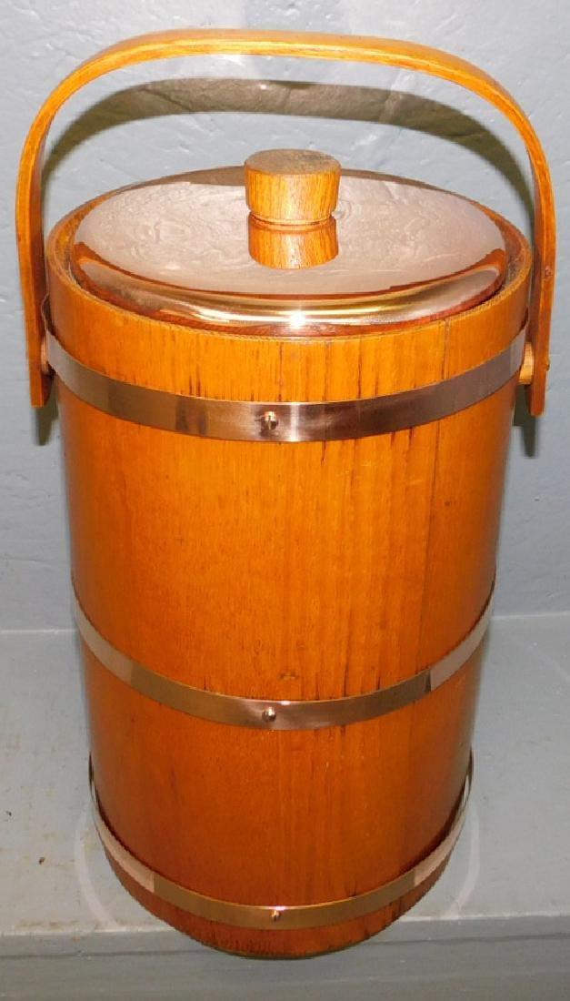 Oak & copper ice bucket w/orig. liner