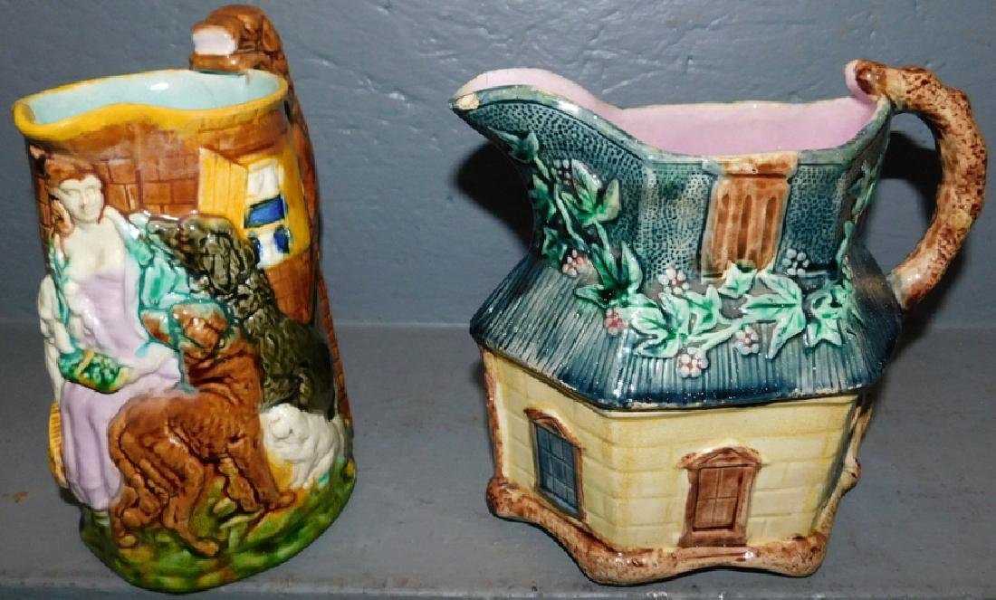 2 19th C Majolica pitchers.