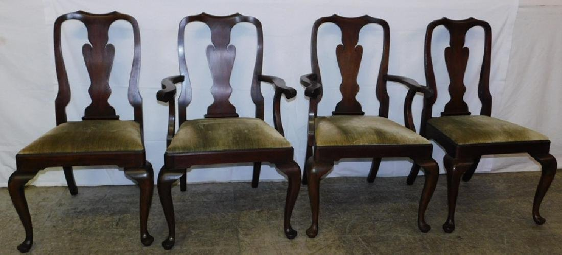 Set 4 mahog. Queen Anne dining chairs